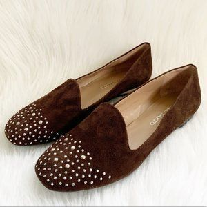 Franco Sarto Brown Embellished Loafers Size 8 M